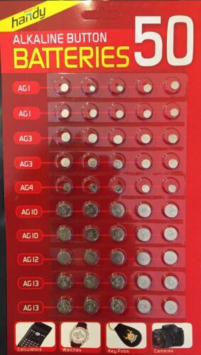 50 X Gemischt Alkalisch Zellen Batterien Ag1//3//4 10//12//13 Uhr Spiele,