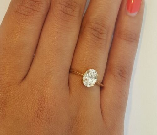 14k Solid Yellow Gold 1 Ct Oval Cut Diamond Solitaire Engagement Ring Spectrum Ag Com