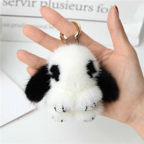 Real Mink Fluffy Fur Key Chain Bunny Crystal Keychain F// Bag Charm Keyring Gift