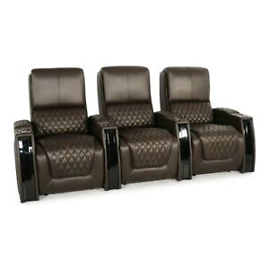 Seatcraft Apex Home Theater Seating Leather Brown Row Of 3 Power Recline Usb Ebay