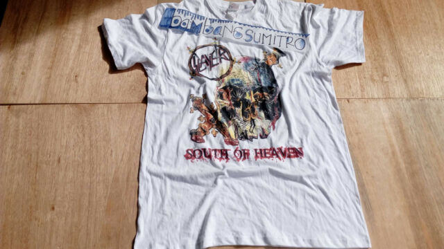 VINTAGE-SLAYER-SOUTH OF HEAVEN-WHITE-T-SHIRT-SIZE S-M-L-XL