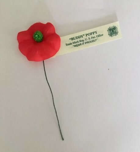 "Veterans of Foreign Wars 1 Vintage Buddy Poppy ""Wear it Proudly"" Made by U.S"