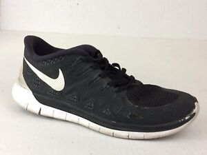 1da15c958 Nike Free 5.0 Mens 6 Med Black White Running Shoes 642198-001 ...