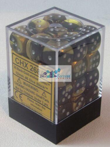 CHESSEX GEMINI 12mm SET OF 36 D6 BLACK-GOLD SILVER DICE MTG