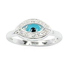 Bijoux Femme Bague T58 Joaillerie Oeil blue white Cz silver Massif 925 T 58