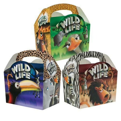 100 Childrens Kids Safari Animal Carry Food Birthday Party Bag Meal Boxes