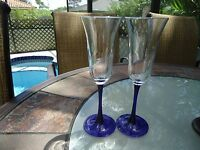 Cobalt Blue Stem Flute glasses-Set of 2