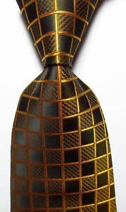 New-Classic-Checks-Black-Gold-JACQUARD-WOVEN-100-Silk-Men-039-s-Tie-Necktie