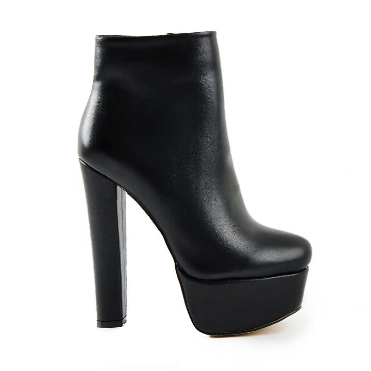 Women's Round Toe Platform High Heel Ankle Ankle Ankle Boots Side Zip Black Booties Big Size 9fa109