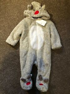 Christmas Reindeer Boy Girl Brown Pramsuit Playsuit All in one Babygrow 3 to 12