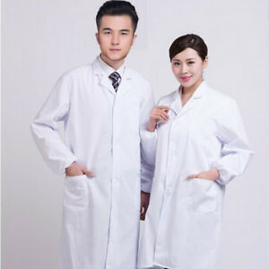 744d61f4f60 Unisex White Lab Coat Medical Doctor Uniform Long Sleeve Nursing ...