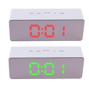 Digital-Funk-Wecker-Alarm-Alarmwecker-LED-Tischuhr-Thermometer-Snooze-Spiegel