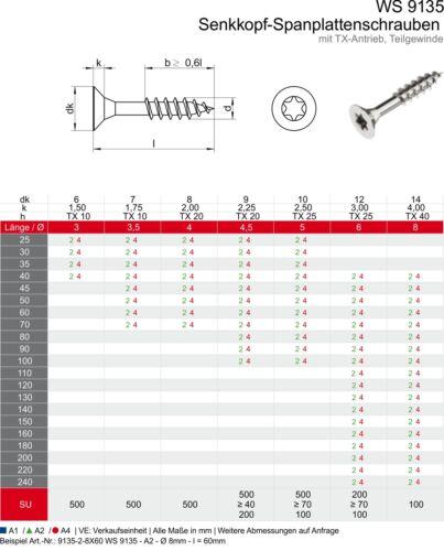 Torx Senkkopf  M5 x 100 Teilgewinde 100 Spanplattenschrauben Edelstahl