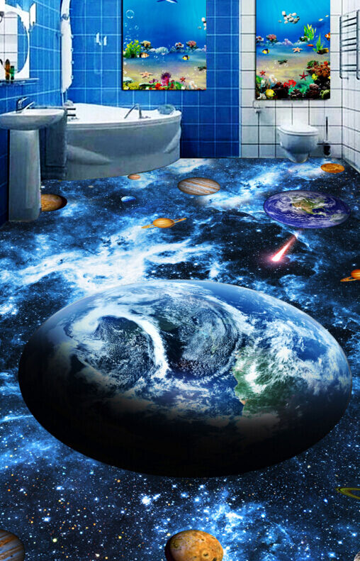 3D spazio esterno blu Pavimento Foto Wallpaper Murales Muro Stampa Decalcomania
