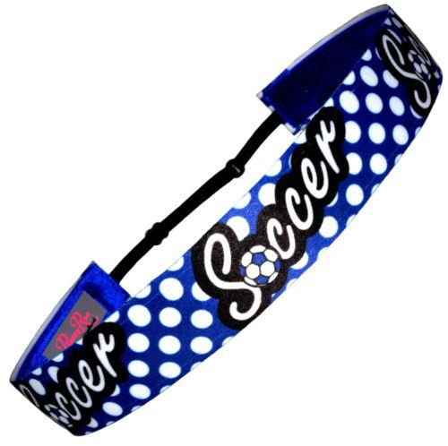 "Non Slip Adjustable Headband Girls Soccer /""Polka Dots Soccer/"" Blue by RazzyRoo"