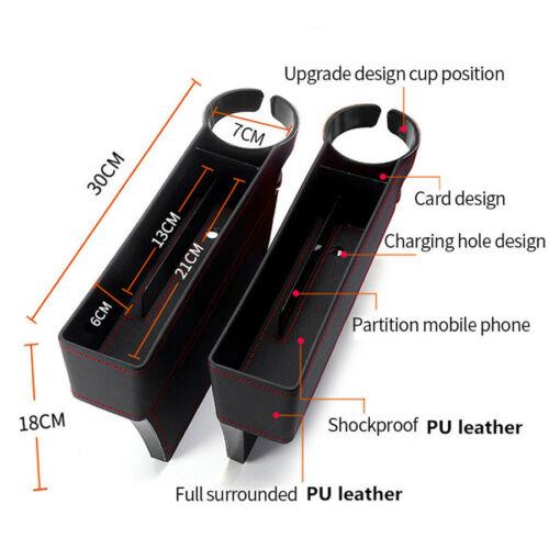 2 x Black Universal PU Leather Car Seat Crevice Storage Box Multi-Function