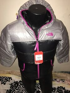 THE-NORTH-FACE-GIRLS-MOONDOGGY-REVERSIBLE-BLACK-PINK-SILVER-METALLIC-EXTRA-LARGE