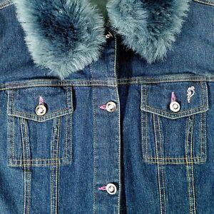 b9baf41a7b9f Pappagallo Jean Jacket Sz Medium Blue Denim Dark Wash Bling Faux Fur ...