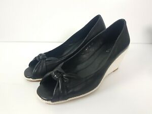 Hobbs-LONDON-Black-Leather-Espadrille-Wedge-Sandal-Heel-Women-039-s-Size-EUR40-Knot