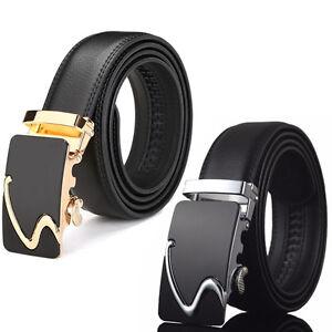 Fashion-Men-Genuine-Leather-Ratchet-Belt-Automatic-Buckle-Waist-Strap-Waistband