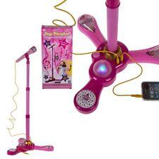 Pinkes Mikrofon mit Ständer für Kinder Aux Anschluss höhenverstellbar Licht NEU