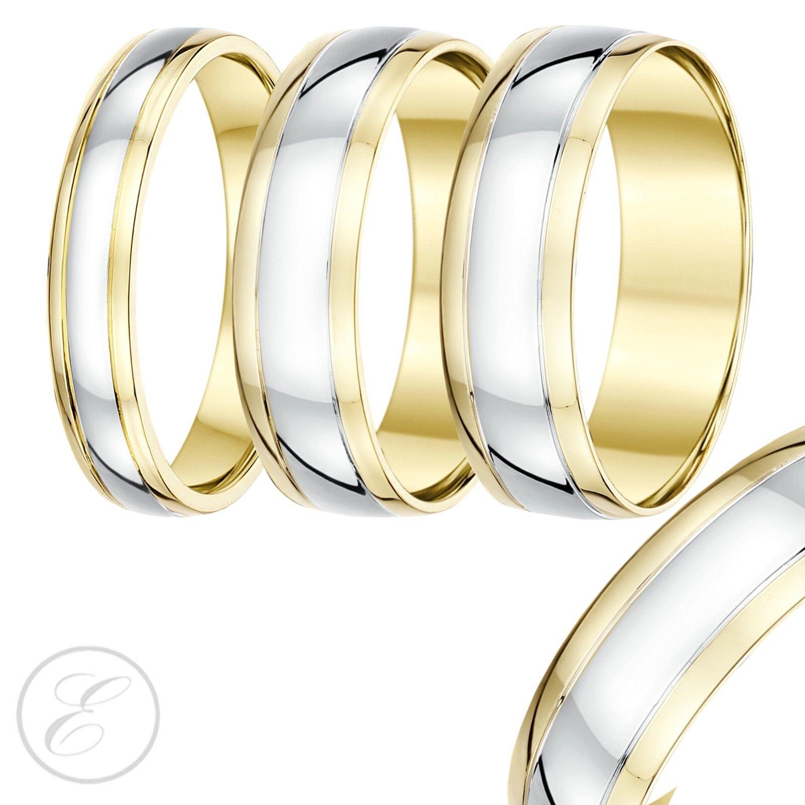 9 Karat Zwei Farben gold Hof Form Trauring