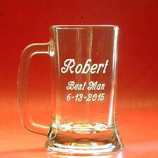 2762ef87b90 Engraved Beer Mug Best Man Groomsmen Wedding Large 16 oz Personalized Glass  Gift