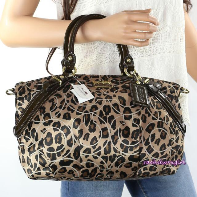 Nwt Coach Madison Ocelot Leopard Print Op Art Sophia Satchel Bag 17764 Brown New