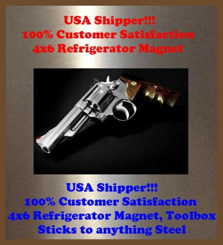 Smith Wesson Pistol Man Cave SIGN 4x6 magnet Fridge REFRIGERATOR Bar DECOR SHOP