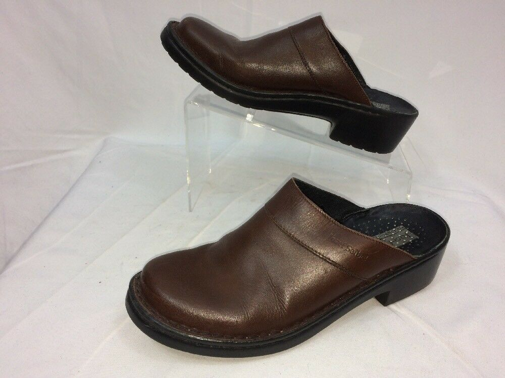 Josef US Seibel Clogs Mules Slip On Womens Shoes US Josef Size 9.5 Brown Leather 1fbb2b