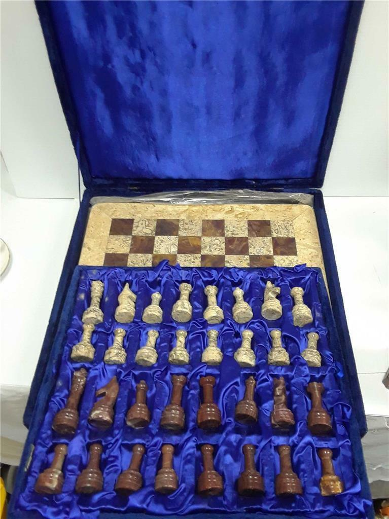 Vintage Marble Chess Set  14 x14  Inlaid tavola autoved Pieces Beautiful Heavy  disponibile