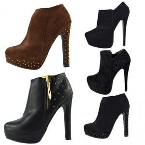 Womens-Platform-Ankle-Boots-High-Heel-Stiletto-Party-Office-Glitter-Studded-Size