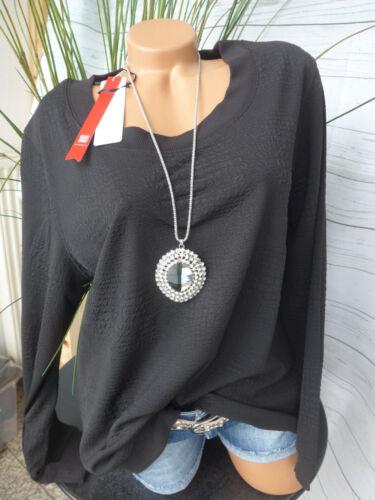 40//42-56//58 Schwarz Ton in Ton Sheego Shirt Pulli Sweatshirt Gr 410 NEU