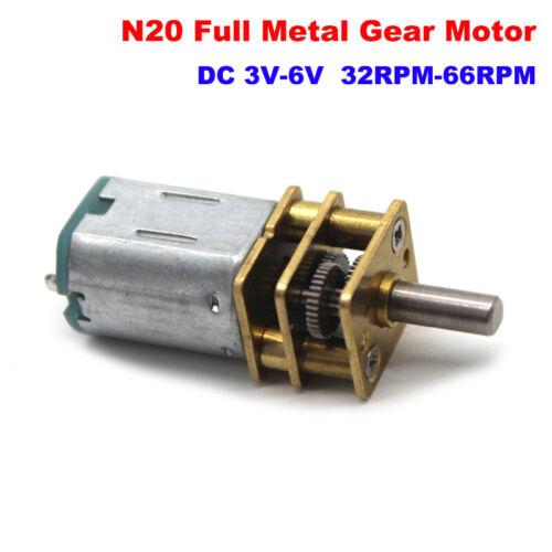 Velocidad lenta DC3V-6V 66RPM Mini N20 Full Metal Gear Motor para armar uno mismo Robot Micro caja de cambios