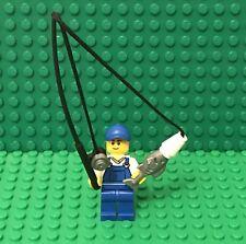 Lego MOC Mini Figures Fishing Pole Rod W// X2 Orange Fish And Dark Brown Barrel