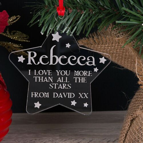 Acrylic Personalised Christmas Tree Decoration Love You More Than Bauble Gift