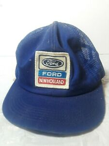 Ford-New-Holland-K-Products-Patch-Blue-Mesh-Trucker-Hat-Snapback-1980s-Vtg