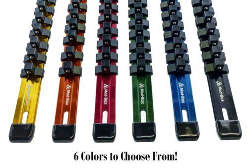 "Black 1//2/"" Drive Socket Organizer18 clipsHeavy Duty 17/"" Anodized Aluminum"