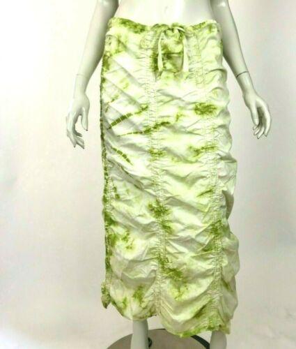 XCVI Double Shirred Panel Skirt Tie Dye Green Maxi