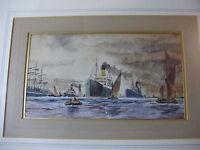 c1910 Orginal MERSEY RIVER PAINTING ~ LIVERPOOL DOCK Watercolour - CUNARD LINE