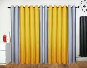 Eyelet-curtains-Ring-Top-Fully-Lined-Pair-Ready-made-2-Tone-Yellow-Ochre-Silver