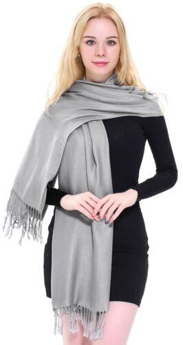 Black /& Grey Solid Colour Design Shawls Scarves Wraps Pashminas CJ Apparel *NEW*