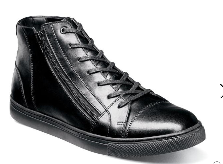 Stacy Adams Fashion Wyn Cap Toe Casual Black Side Zipper Sneaker Boot 53432-001