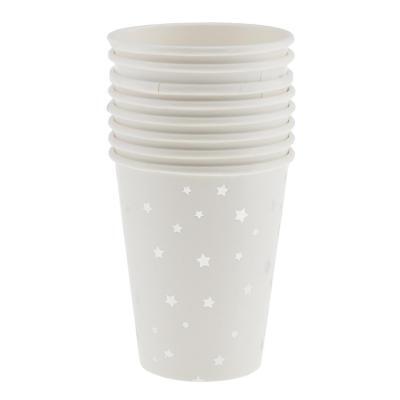 8pcs Verre Jetable Motif Glitter Etoile Tasse Carton à Café Jus Lait Champagne