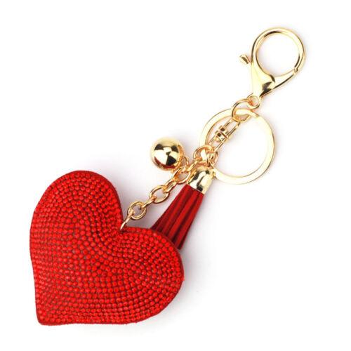 Heart Shape Rhinestone Tassel Keychain Key Ring Chain Pedant Decor Jewelry 67UK