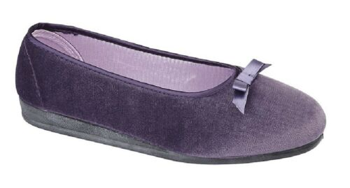 Ladies Sleepers Jacqui Ballerina Bow Full Slippers Mint Purple