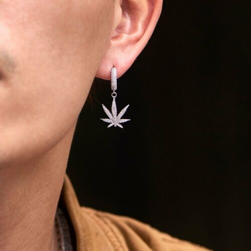 0.50 Ct Round Sim Diamond Men/'s Cannabis Leverback Earring 14k White Gold Plated