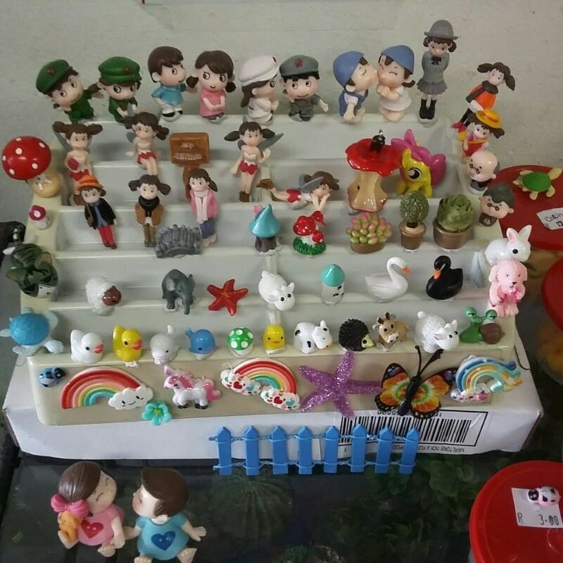 Ornaments. Miniature Figurines. Large Assortment. Ideal for Fairy Gardens. From R3.00 per item.