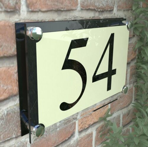 MODERN HOUSE SIGN DOOR NUMBER PLAQUE STREET GLASS EFFECT ACRYLIC ParA4-2BVP
