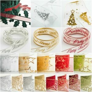 Christmas Organza Ribbon Sparkly Gift  Wrap Tying Wreath Tree Decoration *